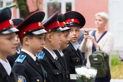 Parade am 1. September im ersten Moskau-Kadett-Korps lizenzfreies stockbild