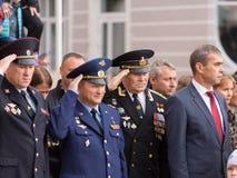 Parade am 1. September im ersten Moskau-Kadett-Korps stockfotografie