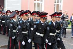 Parade am 1. September im ersten Moskau-Kadett-Korps stockfoto