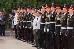 Parade am 1. September im ersten Moskau-Kadett-Korps stockbilder