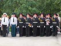 Parade am 1. September im ersten Moskau-Kadett-Korps lizenzfreie stockfotografie