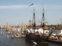 Parade of Ships in 2014. Big and small sailboats on the waterfront in Szczecin during a parade in 2014 Royalty Free Stock Photos