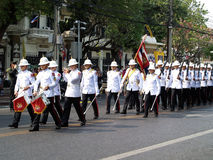 The parade of soldiers (King's & Queen's Guard Regiment) at Ratchadamnoen Road in BANGKOK, THAILAND Stock Photos