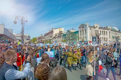Parade on the square holiday year May 9, 2017. Russia, Vladivostok. On a sunny day Stock Image
