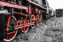 Parade of steam locomotives Royalty Free Stock Photography