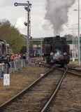 Parade of steam locomotives Royalty Free Stock Photo