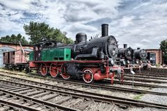 Parade of steam locomotives Stock Photo