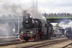 Parade of steam locomotives Stock Images