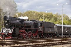 Parade of steam locomotives Royalty Free Stock Images