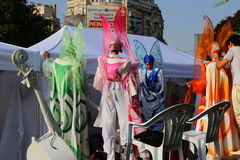 Parade on stilts. At international theater street festival at Bucharest, Romania. Farfalle in Danza Stock Photography