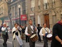Parade in the Street during the annual Celebration of Las Fallas, Valencia, Spain. File Photo:nnThe Falles (Valencian: [ˈfaʎes] ( listen), sing. Falla), or Stock Photo