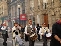 Parade in the Street during the annual Celebration of Las Fallas, Valencia, Spain Stock Photo