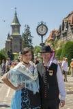 Parade of the Swabian folk costumes royalty free stock photo