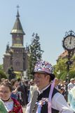 Parade of the Swabian folk costumes stock photo