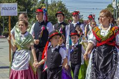 Parade of the Swabian folk costumes stock images