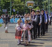 Parade of the Swabian folk costumes royalty free stock images