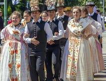 Parade of the Swabian folk costumes stock photos