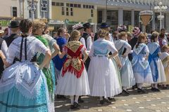 Parade of the Swabian folk costumes. TIMISOARA, ROMANIA - JUNE 16, 2019: The parade of the Swabian folk costumes on the occasion the days of the Germans in Banat royalty free stock photos