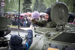 Parade ter ere van overwinning in Wereldoorlog II royalty-vrije stock fotografie