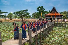 Parade of Thai traditional dancing in Thai traditional costume o. Ubon Ratchathani, Thailand - May 2, 2016: Parade of Thai traditional dancing in Thai stock photography