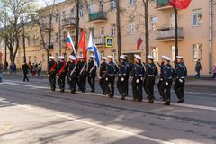 Parade to the victory day on may 9, 2019 in Kronstadt Russia, St. Petersburg 09.05.2019 royalty free stock photography