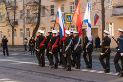 Parade to the victory day on may 9, 2019 in Kronstadt Russia, St. Petersburg 09.05.2019 royalty free stock photos