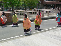 Parade of traditional Aoi festival, Kyoto Japan. Parade of the traditional Aoi Matsuri festival, dressed in period costumes, Kyoto Japan royalty free stock photo
