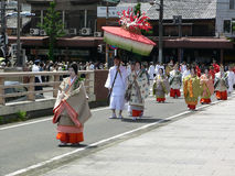 Parade of traditional Aoi festival, Kyoto Japan. Royalty Free Stock Photos