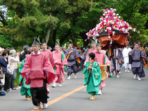 Parade of traditional Aoi festival, Kyoto Japan. Royalty Free Stock Image