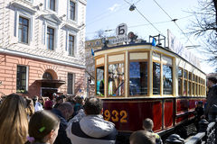 The parade of trams in Moscow. Royalty Free Stock Images