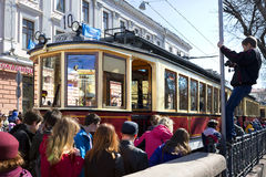 The parade of trams in Moscow. Royalty Free Stock Photos