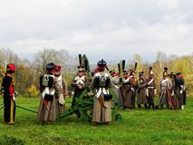 Parade of troops in the old form. The troops of 1812 are fighting on the battlefield. Details and close-up. stock image