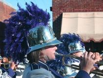 Parade Trumpter. Ashe County High School Marching Band in Christmas Parade, November, Blowing Rock, North Carolina royalty free stock photos