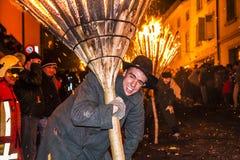 Parade und Teilnehmer Chienbase Fastnach in Liestal, die Schweiz Stockfotografie