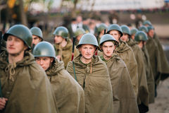 Parade of unidentified re-enactors dressed as Royalty Free Stock Image