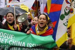 Parade van de Toorts van Londen de Olympische; Vrij Tibet 2! Royalty-vrije Stock Afbeeldingen