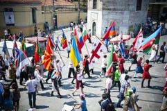 Parade van de wereldjeugd, Istanboel, Turkije Royalty-vrije Stock Foto's