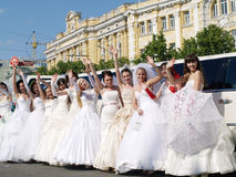 ?parade van fiancees? in Kharkov Royalty-vrije Stock Fotografie