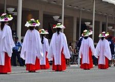 Parade van Gion-festival, bloem parasols Kyoto Japan Royalty-vrije Stock Fotografie