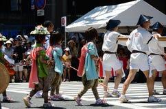 Parade van Gion-festival, Kyoto Japan royalty-vrije stock foto