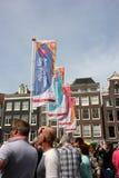 Parade van het de trotskanaal van Amsterdam de vrolijke Stock Foto