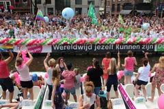 Parade van het de trotskanaal van Amsterdam de vrolijke Royalty-vrije Stock Afbeeldingen