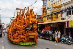 Parade van het kaars de snijdende festival in Korat Royalty-vrije Stock Afbeeldingen
