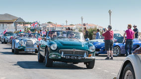 Parade van mooie oude Engelse auto's Stock Foto's