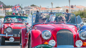 Parade van mooie oude Engelse auto's Stock Afbeelding