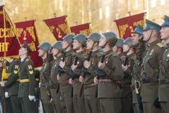 Parade van overwinning in Grote Patriottische Oorlog Stock Fotografie