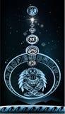 Parade van planeten met Indische god royalty-vrije illustratie