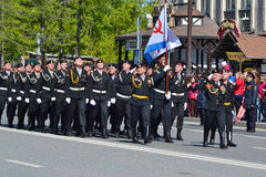 Parade on the Victory Day on May 9, 2016. Tyumen, Russia. Stock Photo