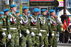 Parade on the Victory Day on May 9, 2016. Tyumen, Russia. Royalty Free Stock Photo