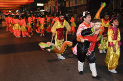 Parade of villager in chinese new year celebration Royalty Free Stock Photography